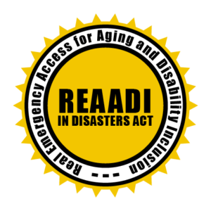 Logo: Sun with Black text in the middle: REAADI and text around the sun: Real Emergency Access for Aging and Disability Inclusion in Disasters